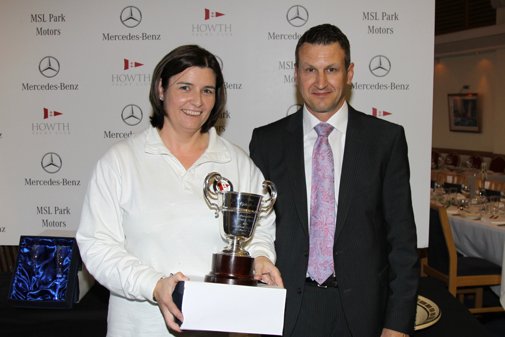 Howth 17's Alphida Cup winner 'Sheila' - Mary Faherty with MSL Park Motors Mercedes Benz Brand Manager Dean Fullston