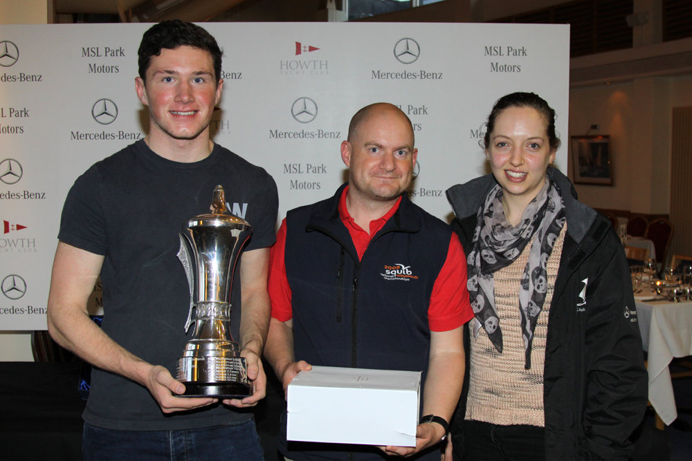 Rachel Grace presents the Impala Regatta Trophy (Class 5 IRC) to Conor Howard and Emmet Dalton from 'Jebus'
