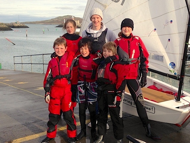 Mark Condy with the transition sailors - Alannah Hassett, Juno Hegarty, Johnny Flynn, Kai Jackson and Luke Turvey.