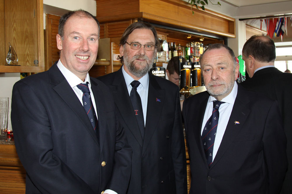 Brian Turvey with Negley Groom (Commodore Poolbeg Yacht and Boat Club) and HYC Rear Commodore Joe Carton