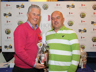 Peter Fagan (from Declan Grey's 'Sapphire') accepts a prize from John Aungier of the Brass Monkey Restaurant