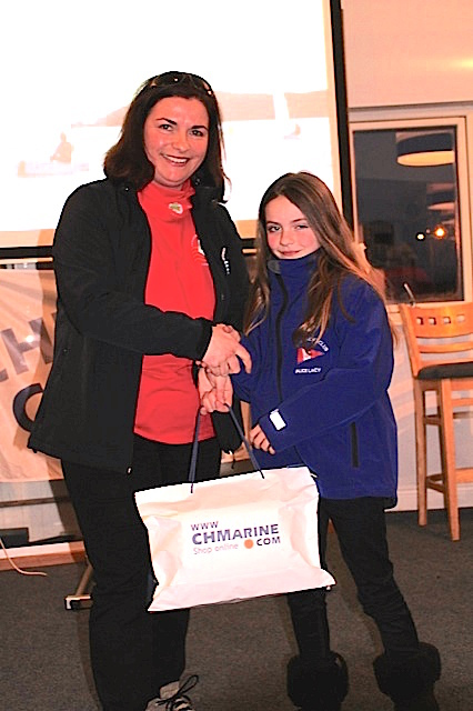 Alice Lacy collects her prize for !st in the Regatta Fleet