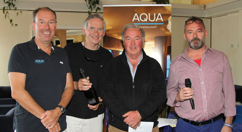 Commodore Brian Turvey with Pat McCaughey and Mossy Shanahan (Splash Dance) and Aqua Restaurant's Dave Murnane