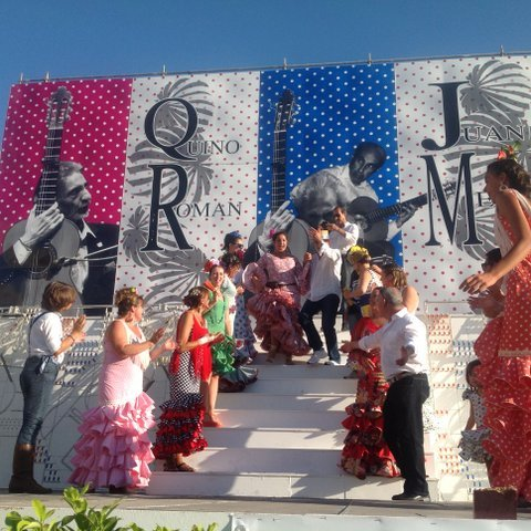 An open air dancing exhibition in La Linea