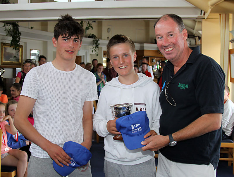 Peadar Lawlor and Jamie McMahon receive their prizes for 1st 420 from Commodore Brian Turvey