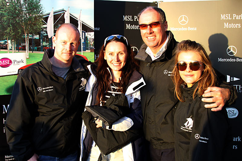 Rima Macken with Commodore Brian Turvey and flanked by MSL Park Motors team members Keith and Lisa