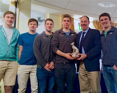 The Howth K25 Team with the Silver Fox Trophy - L to R: Cian Manley, Luke Malcolm, Gordon Stirling, Cillian Dickson, Commodore Brian Turvey and Sam O'Beirne