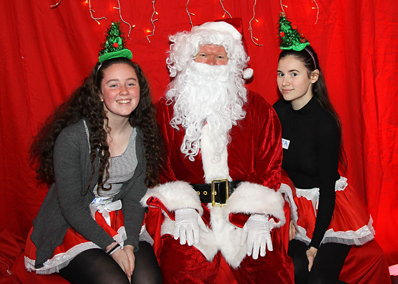 Santa and his elves Kate and Zara