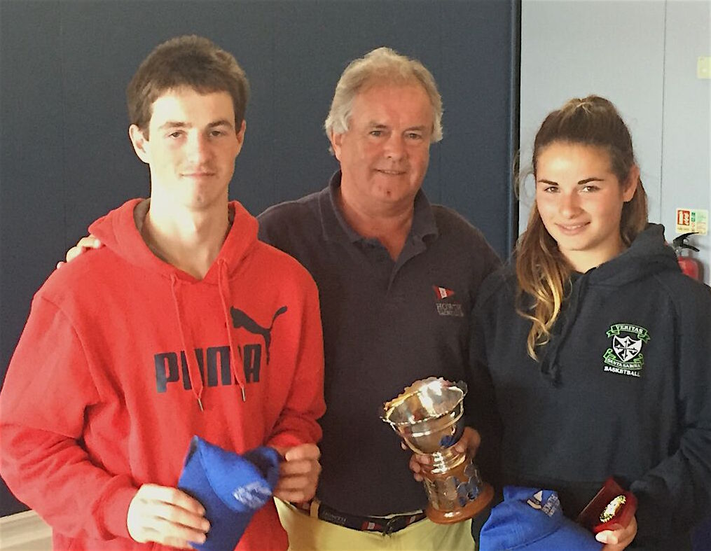 HYC's Shane McLoughlin with Saoirse Kelly - winners of the 420 Class