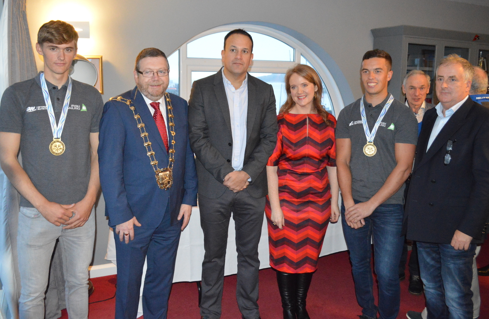 Gold medallists Robert Dickson and Sean Waddilove with Fingal Mayor Anthony Lavin, An Taoiseach, Senator Catherine Noone and Commodore Joe McPeake