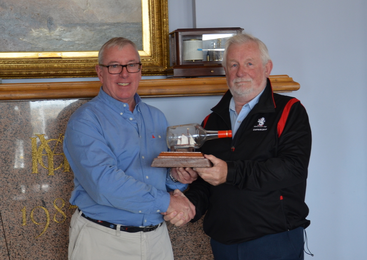"Ian Byrne Commodore presenting Michael O'Connor with the 2019 winning ""Asgard "" trophy for the Line Heaving Competition"