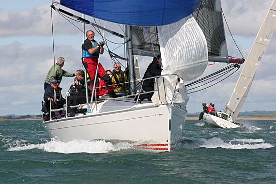 Ian Byrne's 'Sunburn' completes an early spinnaker hoist