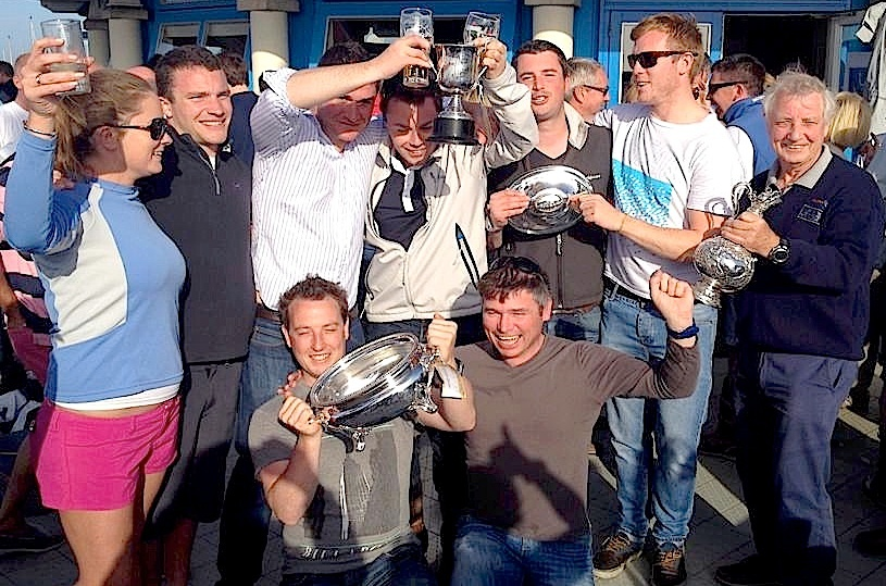 Ross McDonald and crew of 'Equinox' waste no time in celebrating their win in Class 1 IRC
