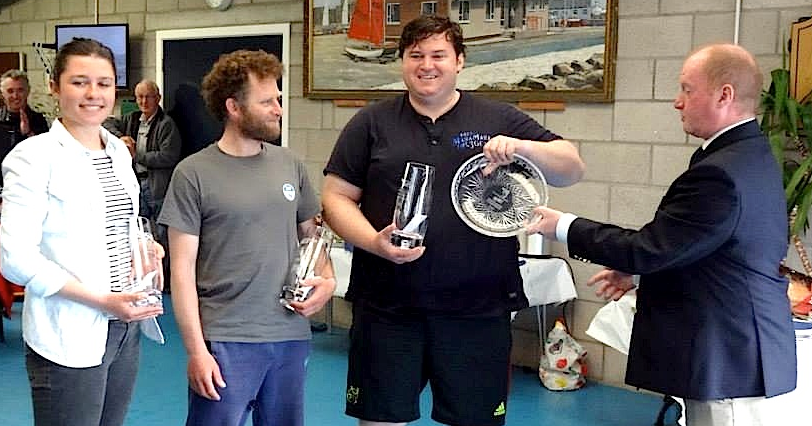 Tara Flood, Graeme Grant and Ronan Dowling collect their prizes at the 2014 SB20 Northern Championships in Carrickfergus