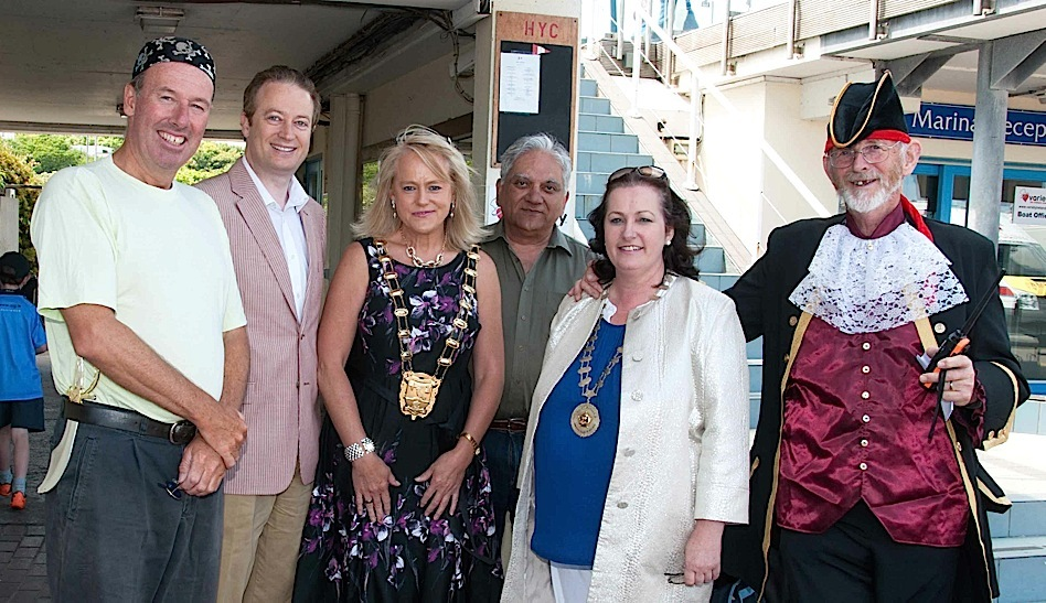 Commodore Brian Turvey, Councillor Keith Redmond, Mayor Mags Murray, Harbourmaster Captain Raja Maitra, Variety Ireland Chief Barker Doreen Smith and Pat Murphy