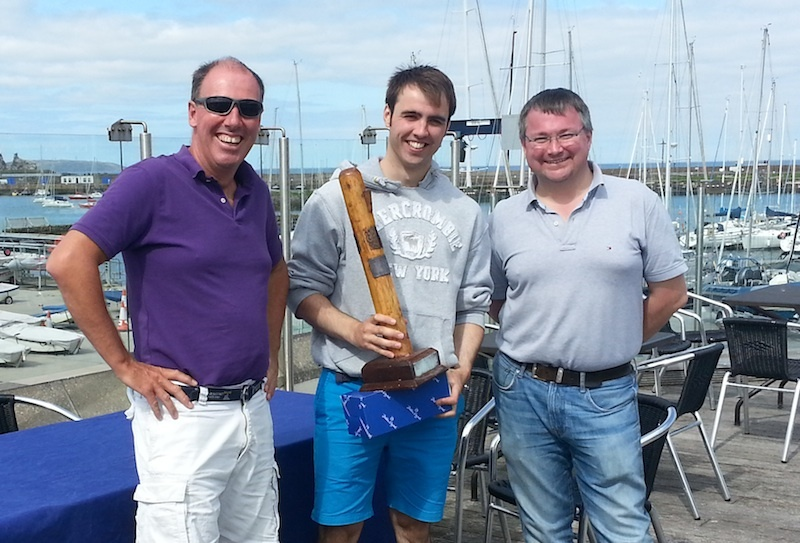 Commodore Brian Turvey with Club Championships winner Ronan Cull and event chairman Marcus Lynch