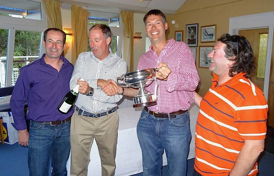 The crew and owners of 'Isobel' commence the celebrations - Wayne Heather, Brian and Conor Turvey and David O'Farrell