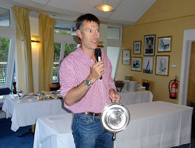 Conor Turvey with the Championship Trophy and speaking to the guests before the Championship BBQ