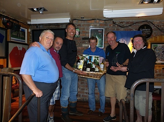 Gibney Trophy winners - Howth 17 'Isobel' presented their prizes by Tony and Barry Gibney