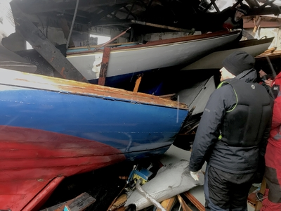 Long Shed collapses on Howth Seventeens in storm