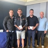 2018 Squib Easterns Silver Fleet - Simon Sheehan & Alan Quinn (HYC) with Gary Cullen  (Provident CRM) and Rear Commodore Paddy Judge