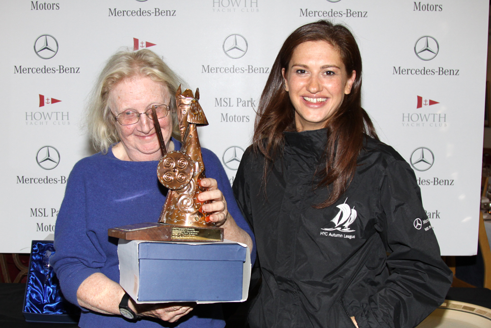 Joanne Kavanagh presents the Puppeteer handicap 'Snowgoose Trophy' to Jacqueline Feeley (Cloud 9)