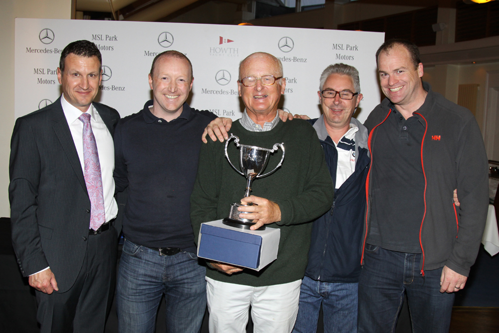 Dean Fullston presents the Cuffe Smith Trophy to 'Dux' - Evan Dolan, Anthony Gore Grimes, Andy Mollard and Ken O'Neill