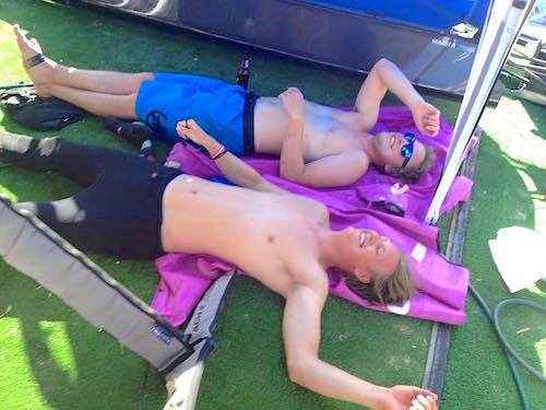 Exhausted after four races today. Time for the gold fleet! —Ali Kissane and Nils Åkervall.