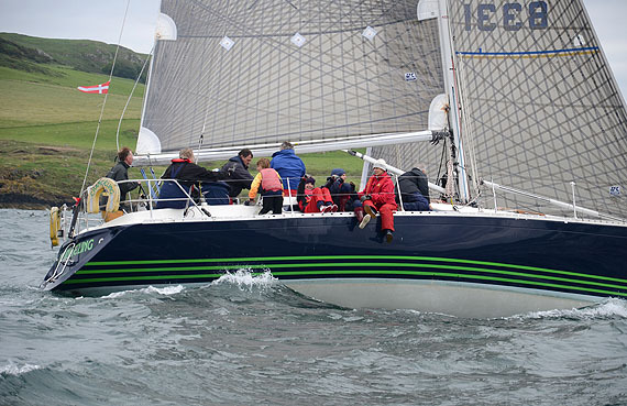 Kieran at the helm of 'Changeling' as he rounds Lambay during the 2012 Lambay Races. (Photo: Conor Lindsay)