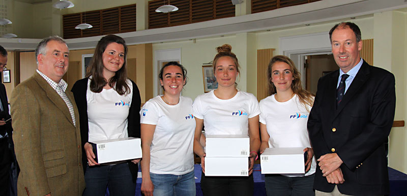 Pauline Courtois (3rd from left) and team with 1st place prizes in the Women's event