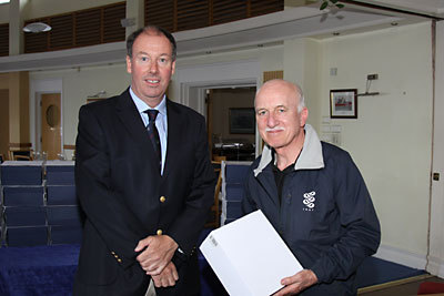 Commodore Brian Turvey with ISA Sailfleet's Michael O'Connor