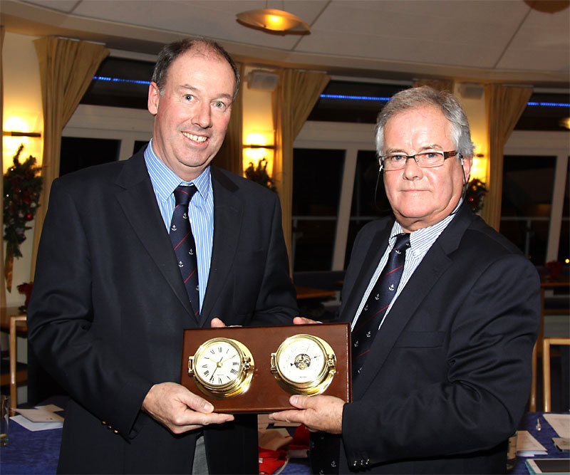 Outgoing Commodore Brian Turvey is presented with a gift on behalf of the club by Commodore Berchmans Gannon