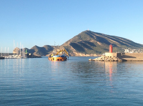 Dredger busy at work in Altea