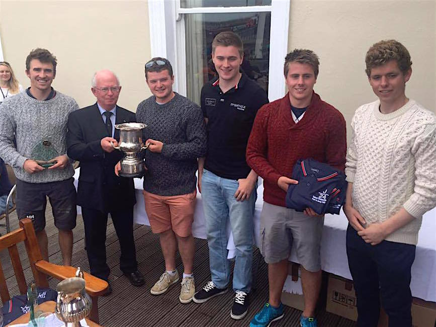 J24 National Champions, Sam, Ryan, Cian, Claude and Cillian are presented with their trophy