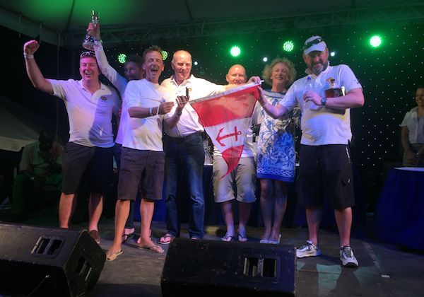 Conor, Simon, Paddy and crew of 'Bam' celebrate in Antigua earlier this year