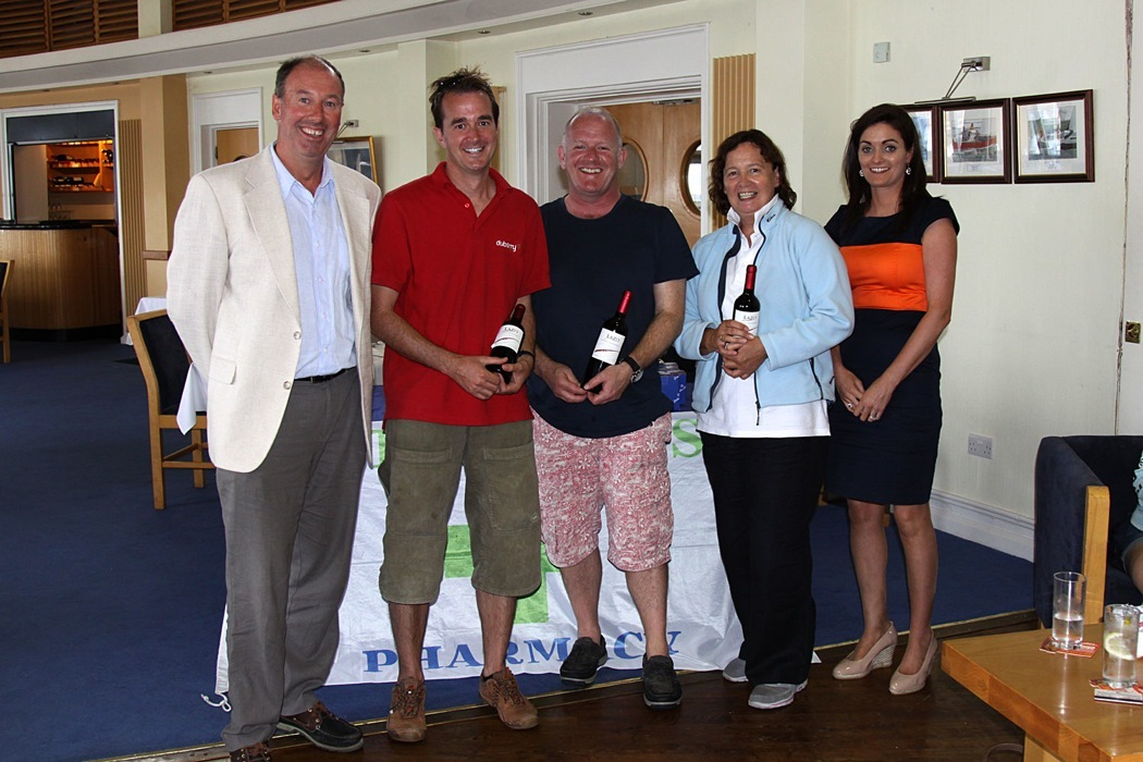 Silver Fleet prizewinners - Gepetto, Flycatcher and Enigma with Commodore and Charlotte O'Connor